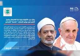 """رجال دين كاثوليك:زيارة بابا الفاتيكان وشيخ الأزهر تعزز موقع الإمارات """"عاصمة"""" للتسامح"""
