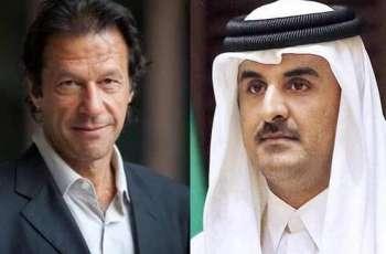 أمیردولة القطر الشیخ تمیم بن حمید یستقبل رئیس الوزراء الباکستاني عمران خان في قصرہ