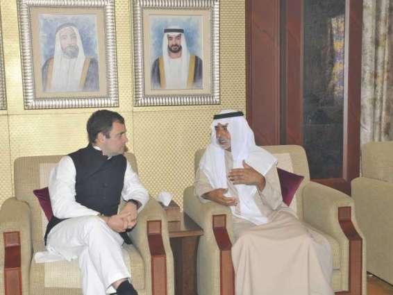 نهيان بن مبارك يستقبل رئيس حزب المؤتمر الهندي