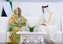 """محمد بن زايد يلتقي رئيسة وزراء بنجلاديش وعددا من وزراء الدفاع وكبار المسؤولين المشاركين في """" آيدكس 2019 """""""