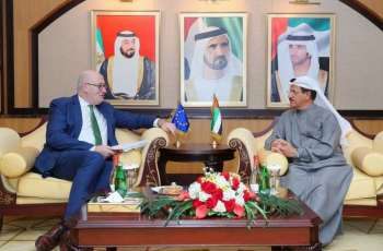 Sultan Al Mansouri discusses economic, commercial partnerships with EU