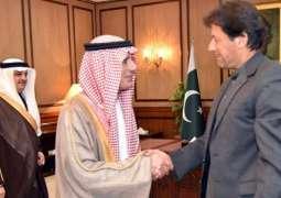 Saudi Foreign Minister Adel al-Jubeir meets Prime Minister Imran Khan