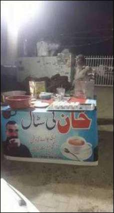 This tea stall features Abhinandan's picture to attract customers
