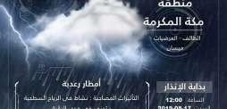 """""""الأرصاد"""" تنبّه بهطول أمطار رعدية على عدد من محافظات منطقة مكة المكرمة"""