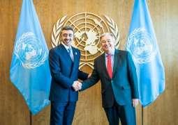 UN Secretary General receives Abdullah bin Zayed