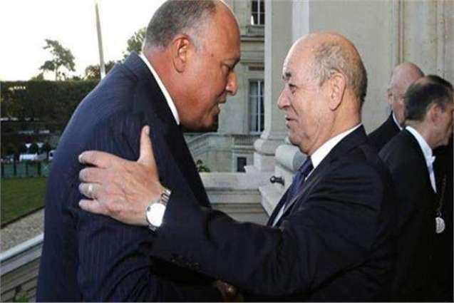 وزیر الخارجیة المصري سامح شکري یستقبل نظیرہ الفرنسي جون ایف لودریان