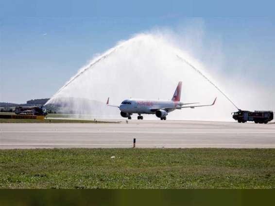 Air Arabia's inaugural flight lands at Vienna International Airport