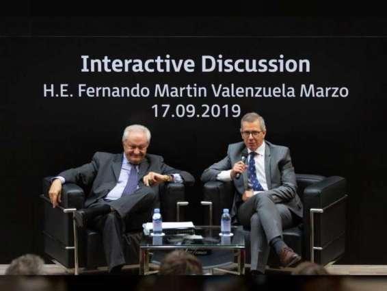 """""""الإمارات الدبلوماسية"""" تنظم جلسة حوار مع وزير الدولة الإسباني للشؤون الخارجية"""