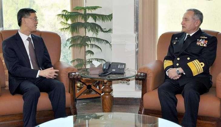 السفیر الصیني لدي اسلام آباد یلتقي قائد القوات البحریة الفریق أول ظفر محمود عباسي