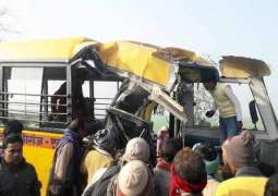 Over 20 Children Injured in Big Accident as School Bus Overturns on Road in India- Reports
