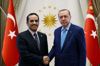 نائب رئیس الوزراء القطري الشیخ محمد بن عبدالرحمن آل ثاني یلتقي الرئیس الترکي رجب طیب اردوغان