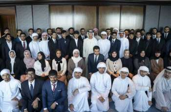 Hazza bin Zayed receives Emirati students in Japan