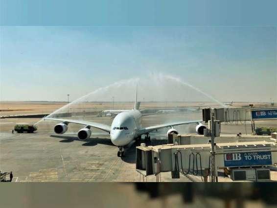 """مطار القاهرة يستقبل أول رحلة منتظمة لطائرة طيران الإمارات"""" A380 """""""