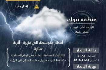 أمطار على مركز شقري بمنطقة تبوك