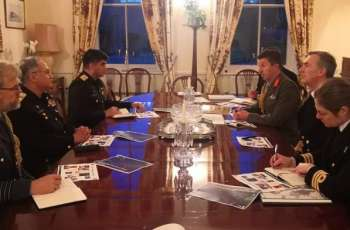 Chief Of The Naval Staff Admiral Zafar Mahmood Abbasi Meets Royal Navy's First Sea Lord, Gets Conferred With Brnc Medal And Interacts Withbritish Think Tank