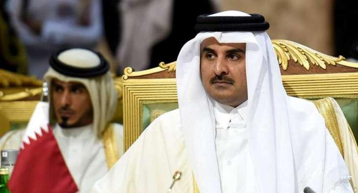 أمیر دولة قطر الشیخ تمیم بن حمد آل ثاني یعزي رئیس دولة الامارات بوفاة شقیقہ