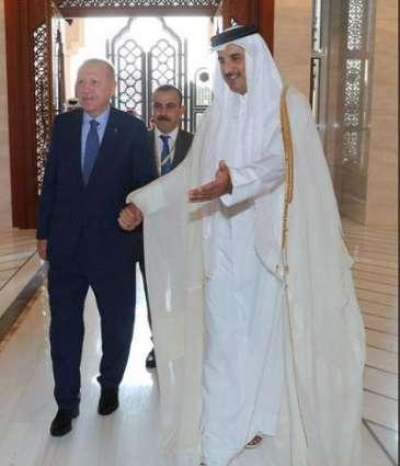أمیر دولة قطر الشیخ تمیم بن حمد آل ثاني یستقبل الرئیس الترکي رجب طیب أردوغان