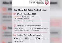 Abu Dhabi toll gates active during peak hours beginning 2nd January