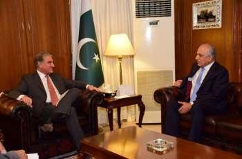 وزیر الخارجیة الباکستاني شاہ محمود قریشي یستقبل المبعوث الأمریکي لأفغانستان زلمی خلیل زاد