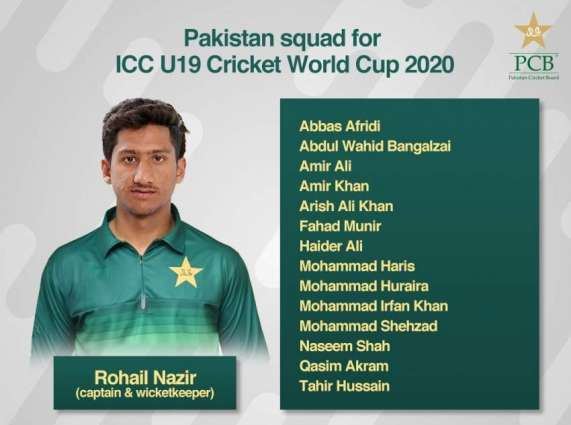 Pakistan squad for ICC U19 Cricket World Cup 2020 named