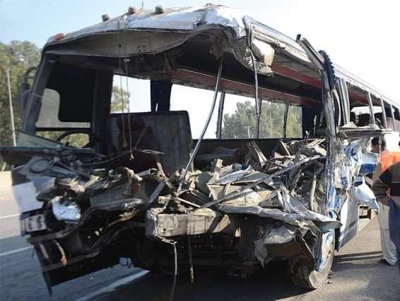 2 die, 8 injured in bus-truck collision