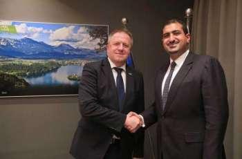 سمو الأمير عبدالله بن خالد بن سلطان يلتقي معالي وزير الاقتصاد والتنمية والتكنولوجيا السلوفيني