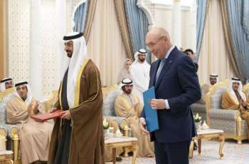 Mohamed bin Zayed, Kazakh President attend signing of MoUs between the two countries