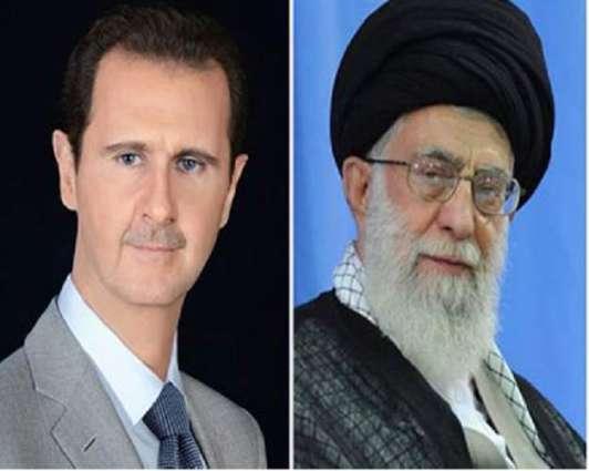الرئیس السوري بشأر الأسد یعزي المرشد الأعلي الایراني علي خامني  بمقتل قاسم سلیماني