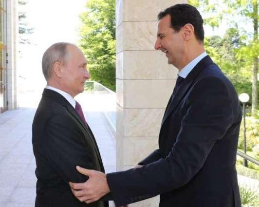 الرئیس السوري بشأر الأسد یستقبل نظیرہ الروسي فلادیمیر بوتین