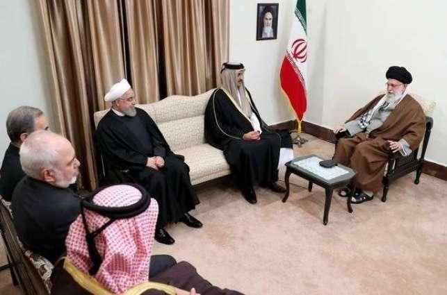 المرشد الأعلي الایراني علي خامنئي یستقبل أمیر قطر تمیم بن حمد آل ثاني