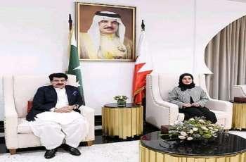 رئیسة مجلس النواب البحریني فوزیة بنت عبداللہ زینل تستقبل رئیس مجلس الشیوخ الباکستاني