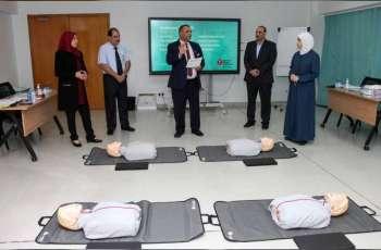 """"""" الصحة"""" تدرب الطلبة مهارات الإنعاش القلبي الرئوي"""