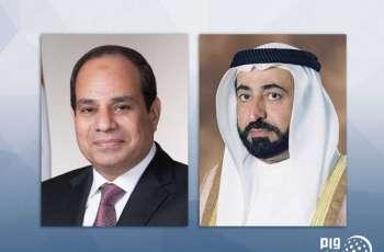 حاكم الشارقة يعزي الرئيس المصري في وفاة محمد حسني مبارك