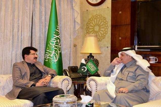 رئیس مجلس الشیوخ الباکستاني محمد صادق سنجراني یجتمع مع سفیر المملکة العربیة السعودیة لدي اسلام آباد