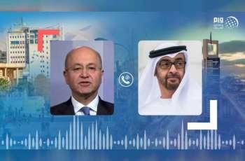 """محمد بن زايد يبحث مع الرئيس العراقي العلاقات الأخوية بين البلدين وجهود احتواء فيروس """" كورونا """""""