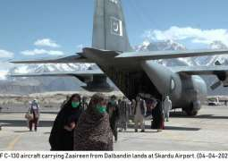 PAF C-130 aircraft shifts pilgrims from Dalbandin to Skardu
