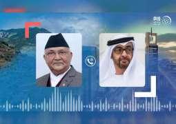 Mohamed bin Zayed, Prime Minister of Nepal review global fight against coronavirus