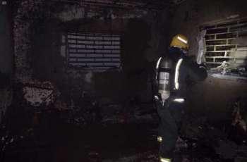 الدفاع المدني بتبوك ينقذ 4 أشخاص إثر حريق اندلع بإحدى الشقق السكنية بحي الروضة