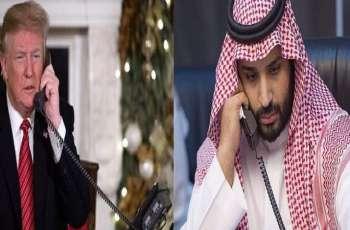 ولی العھد السعودي یتلقی اتصالا ھاتفیا من الرئیس الأمریکي دونالد ترامب