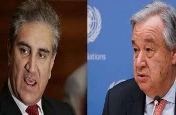 وزیر الخارجیة الباکستاني شاہ محمود قریشي یتلقي اتصالا ھاتفیا من الأمین العام لأمم المتحدة