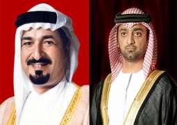 حاكم عجمان وولي عهده يعزيان حاكم الشارقة في وفاة الشيخ أحمد بن سلطان القاسمي