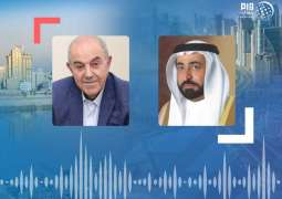 حاكم الشارقة يتلقى برقية تعزية من إياد علاوي بوفاة الشيخ أحمد بن سلطان القاسمي