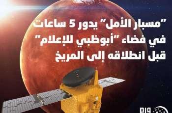 """""""مسبار الأمل"""" يدور 5 ساعات في فضاء """"أبوظبي للإعلام"""" قبل انطلاقه إلى المريخ"""