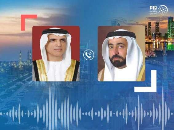 حاكم الشارقة يتلقى تعازي حاكم رأس الخيمة بوفاة الشيخ أحمد بن سلطان القاسمي