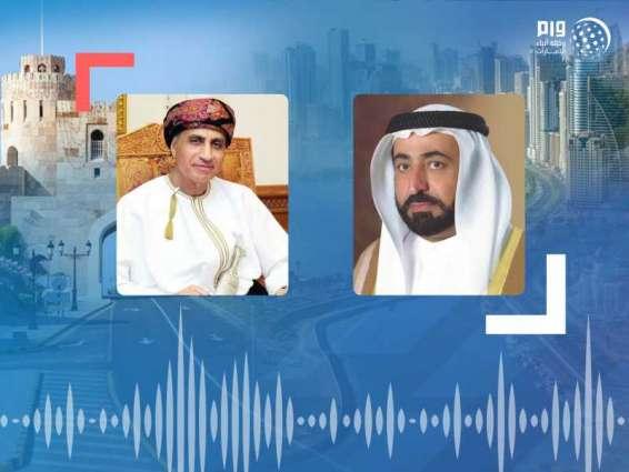 حاكم الشارقة يتلقى برقية تعزية من فهد بن محمود آل سعيد بوفاة أحمد بن سلطان القاسمي