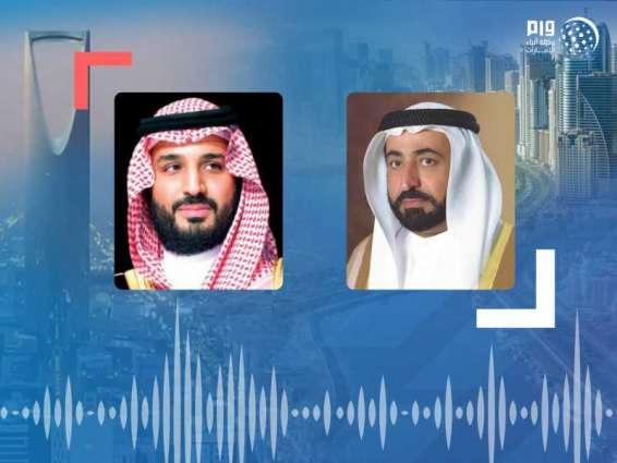 حاكم الشارقة يتلقى برقية تعزية من ولي العهد السعودي بوفاة أحمد بن سلطان القاسمي