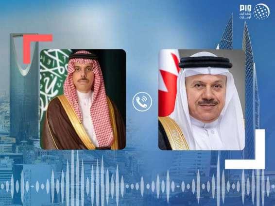 وزيرا الخارجية السعودي والبحريني يبحثان هاتفيا التنسيق المشترك إزاء القضايا الإقليمية الراهنة
