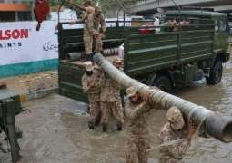 Pak army 's relief operation continues in rain-hit areas of Karachi