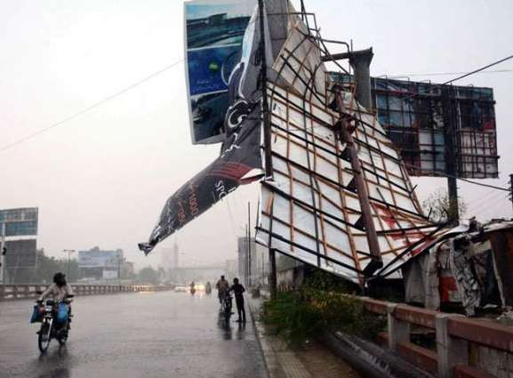 Flying billboard leaves man injured in Karachi