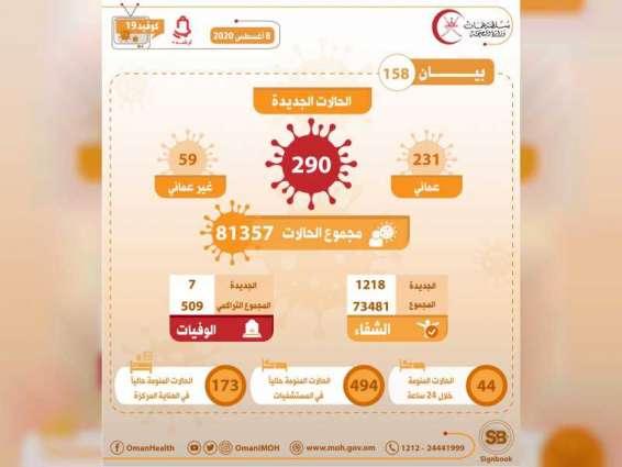 سلطنة عمان تسجل ٢٩٠ إصابة جديدة بكورونا